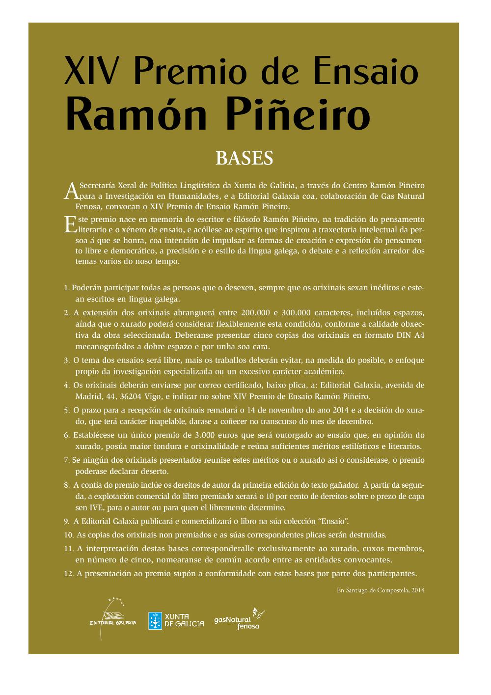 Bases Premio Ramón Piñeiro ensaio 2014