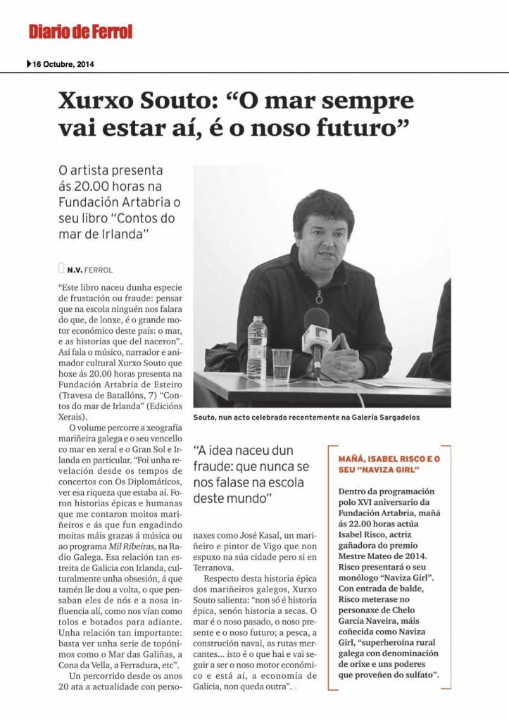 Entrevista no Diario de Ferrol a Xurxo Souto