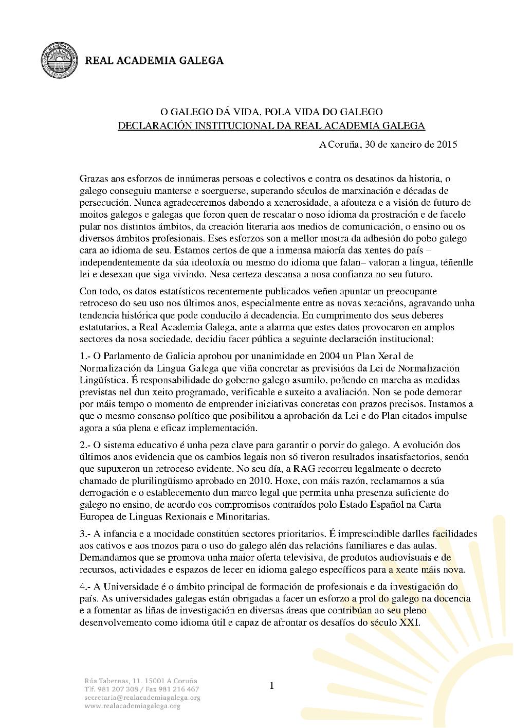 Declaración sobre o galego RAG 2015 01 1