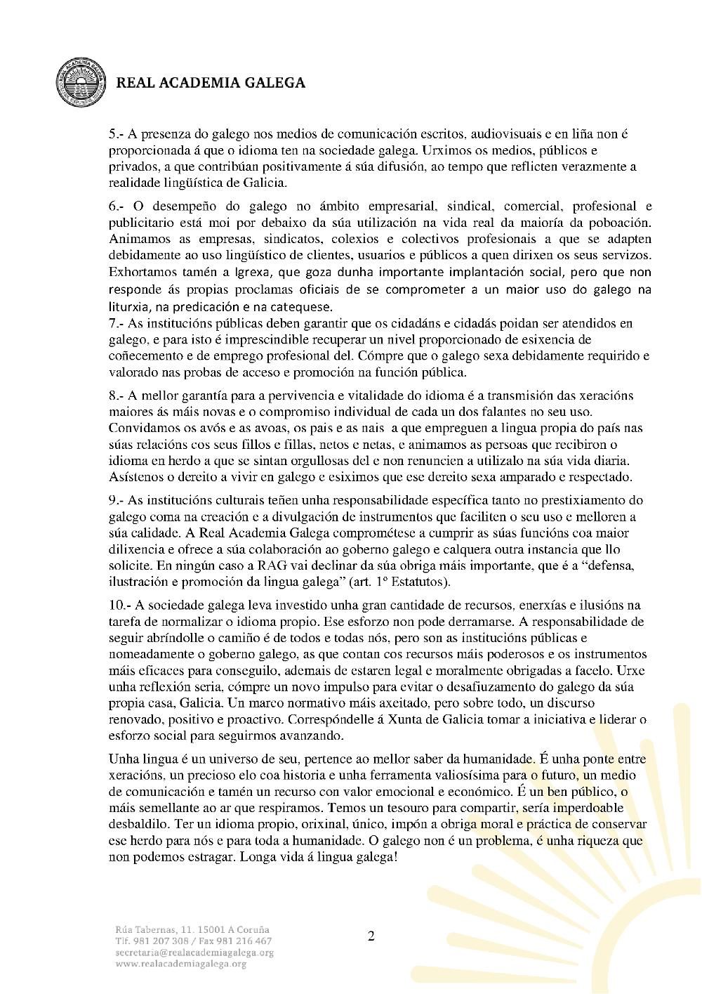 Declaración sobre o galego RAG 2015 01 2
