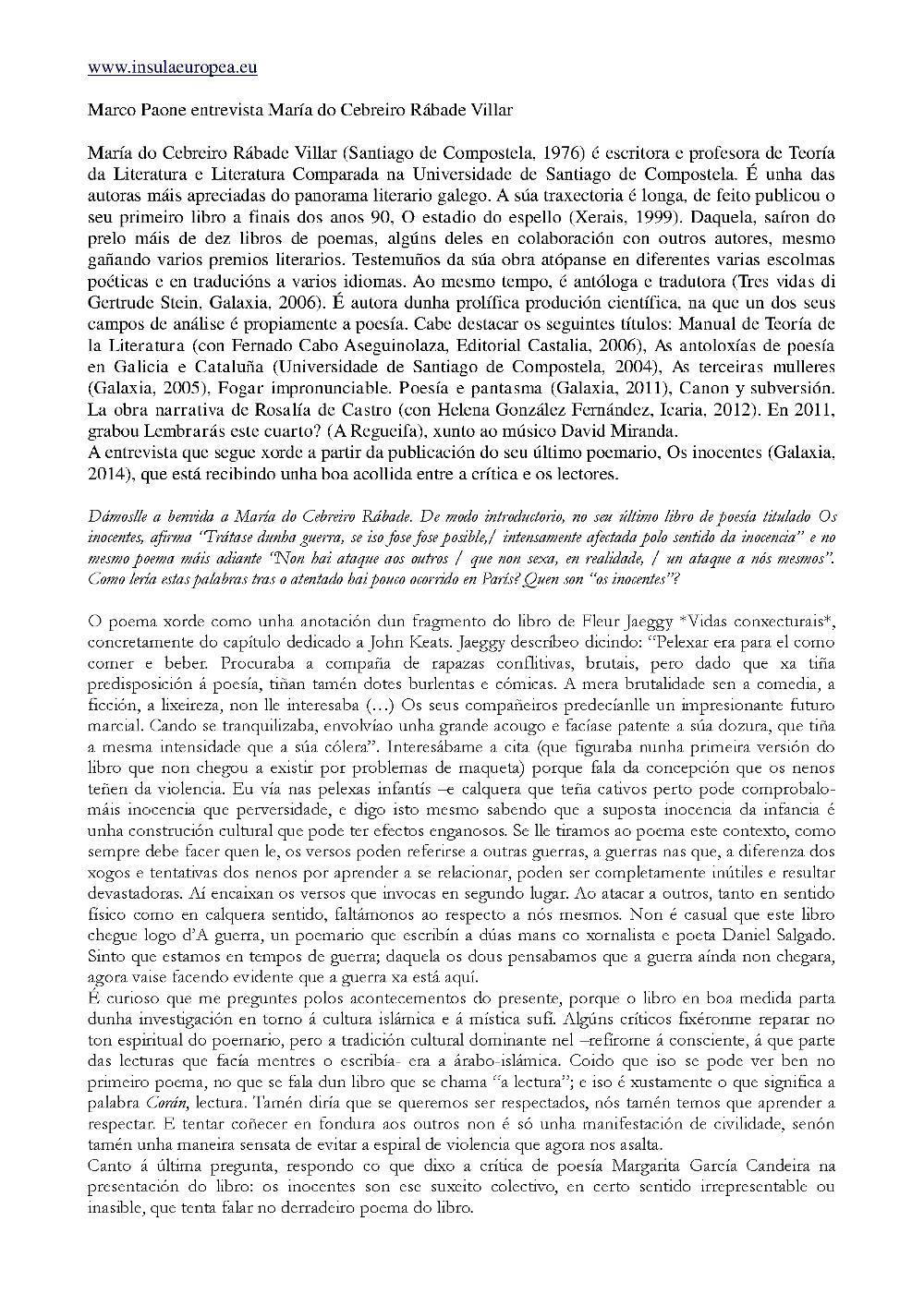 Entrevista a María do Cebreiro 1