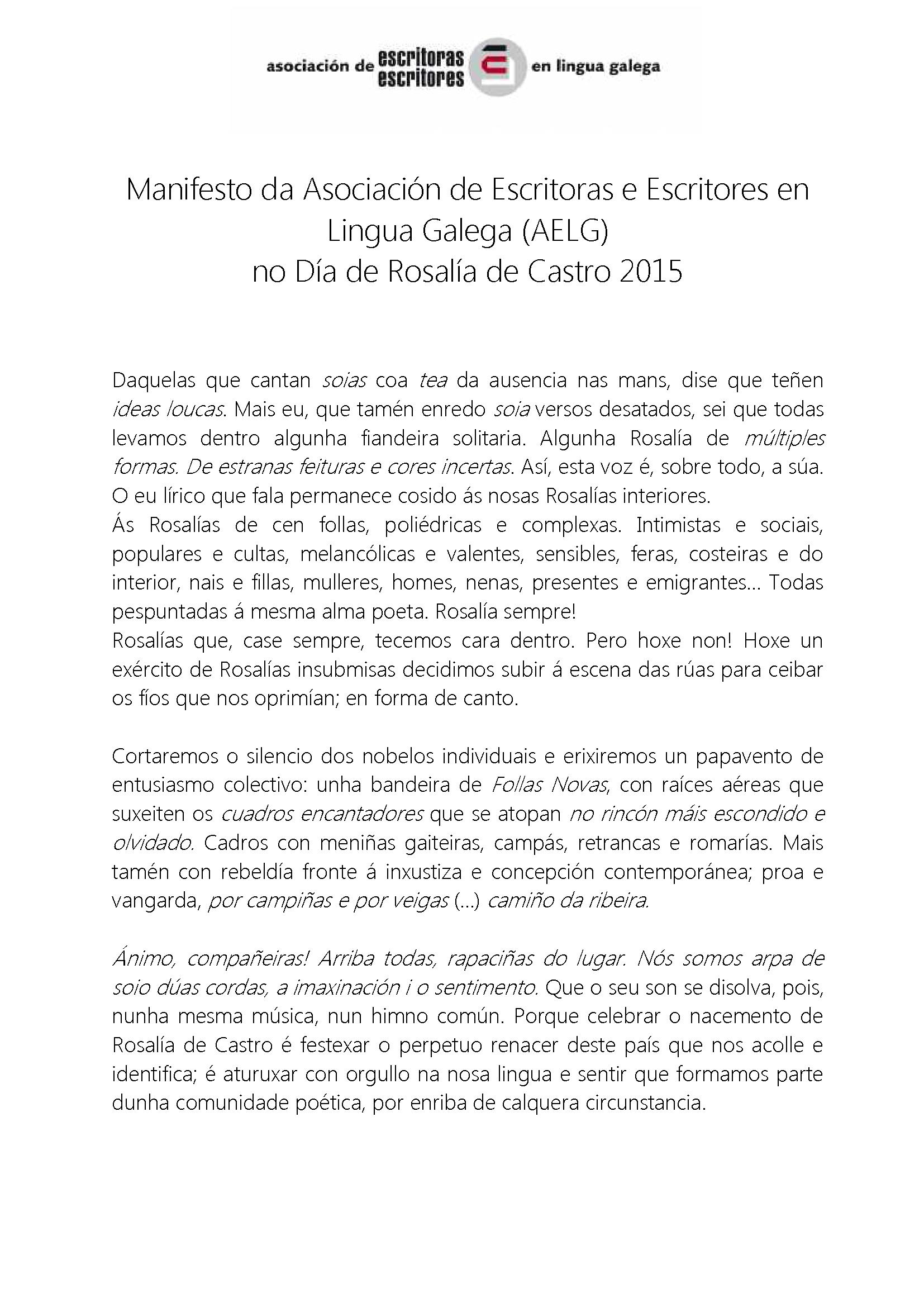 2015 Manifesto Día de Rosalía 1