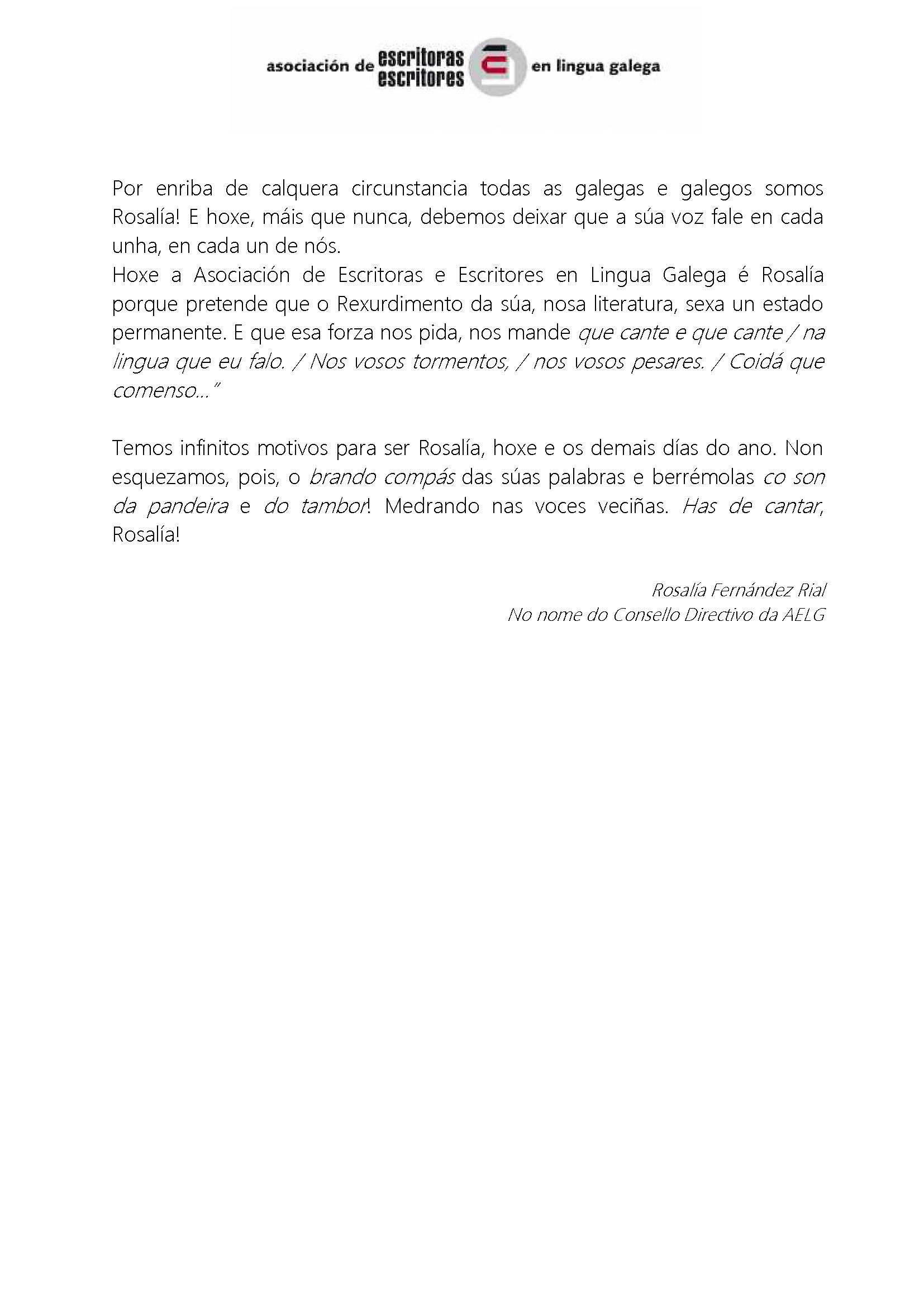 2015 Manifesto Día de Rosalía 2