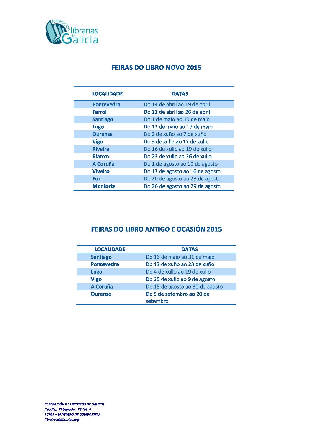 Federación de Librarías Calendario_de_Feiras