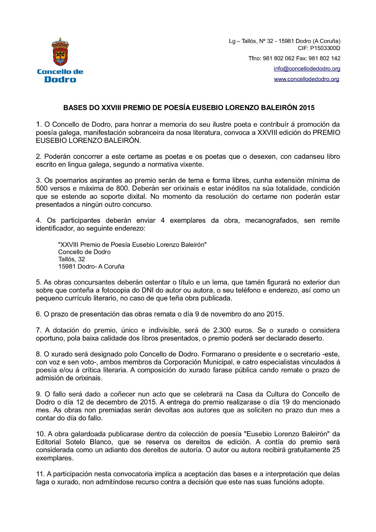 Bases Premio Eusebio Lorenzo Baleirón 2015
