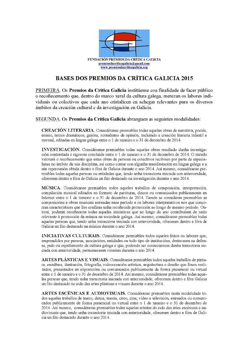 Bases Premios Crítica Galicia 1
