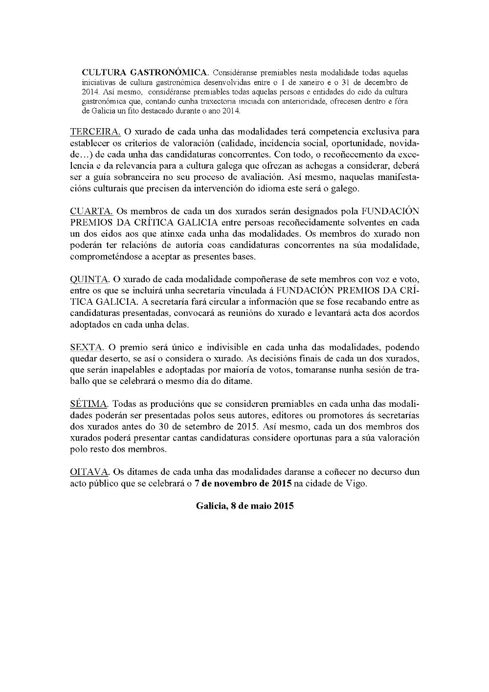 Bases Premios Crítica Galicia 2