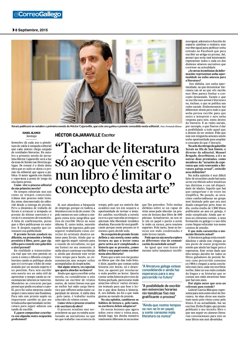 Entrevista Correo Gallego Héctor Cajaraville