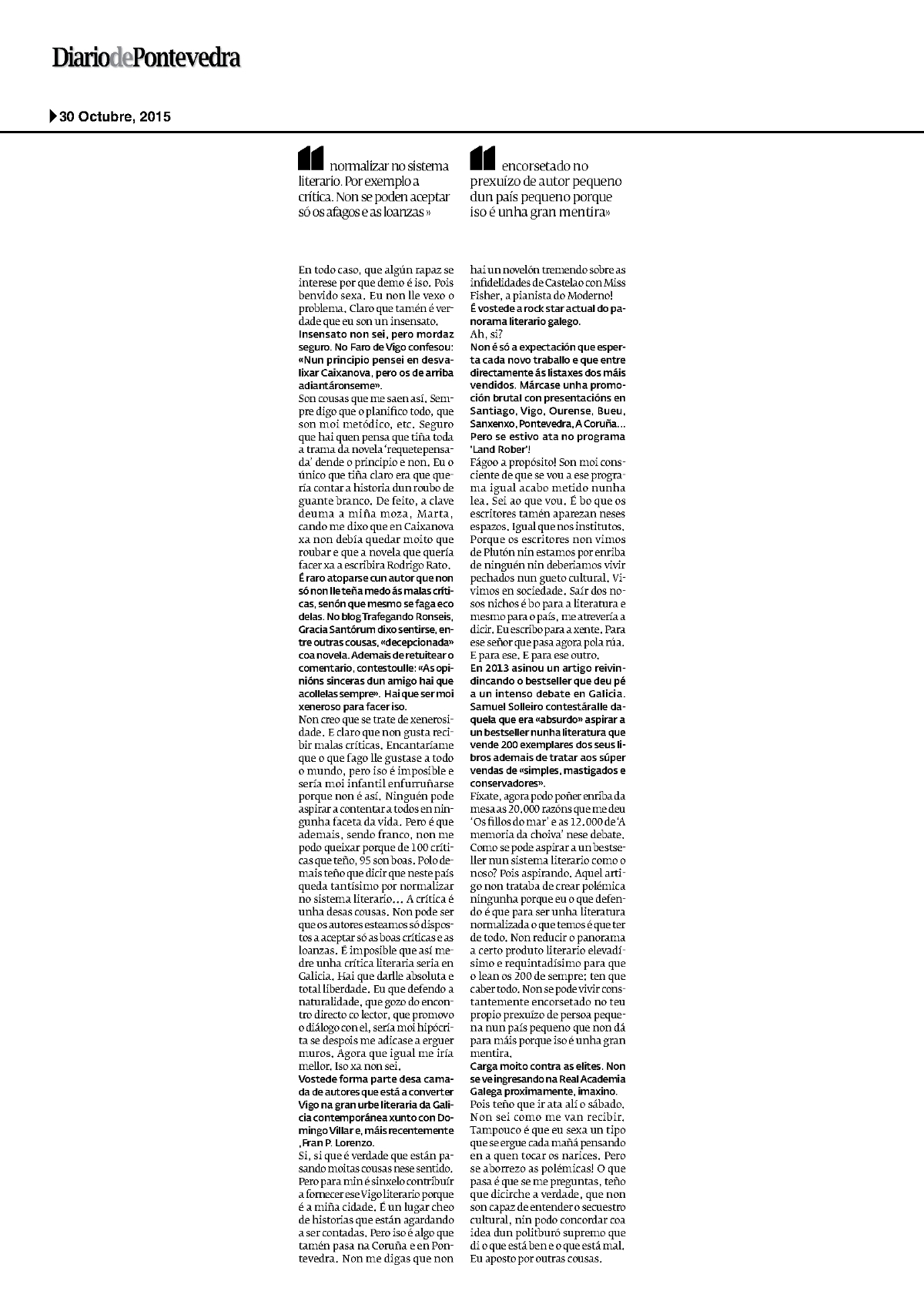 Pedro Feijoo entrevista DP 2