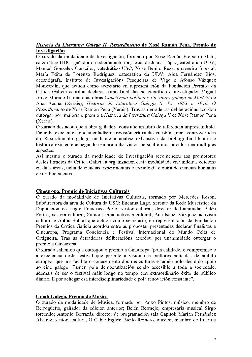Premios da Crítica Galicia 2015 2