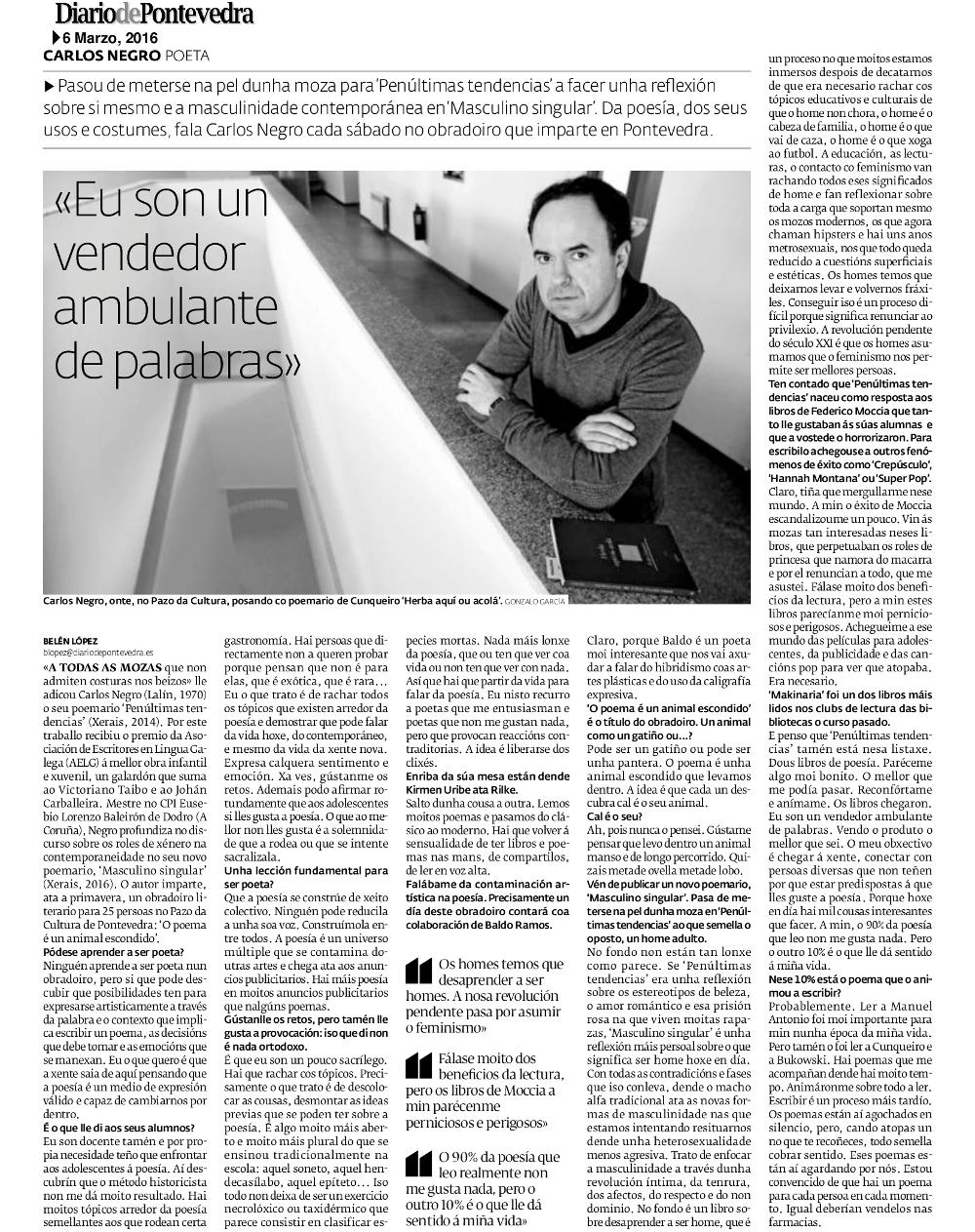 Entrevista Diario de Pontevedra Carlos Negro