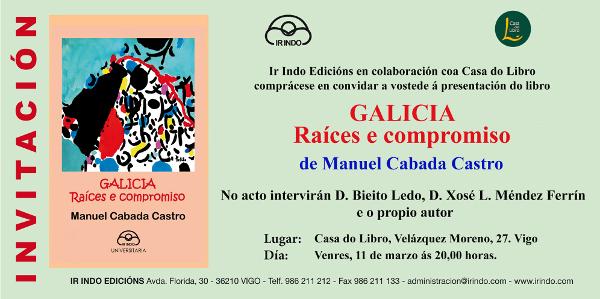 Invitación libro de Manuel Cabada en Vigo