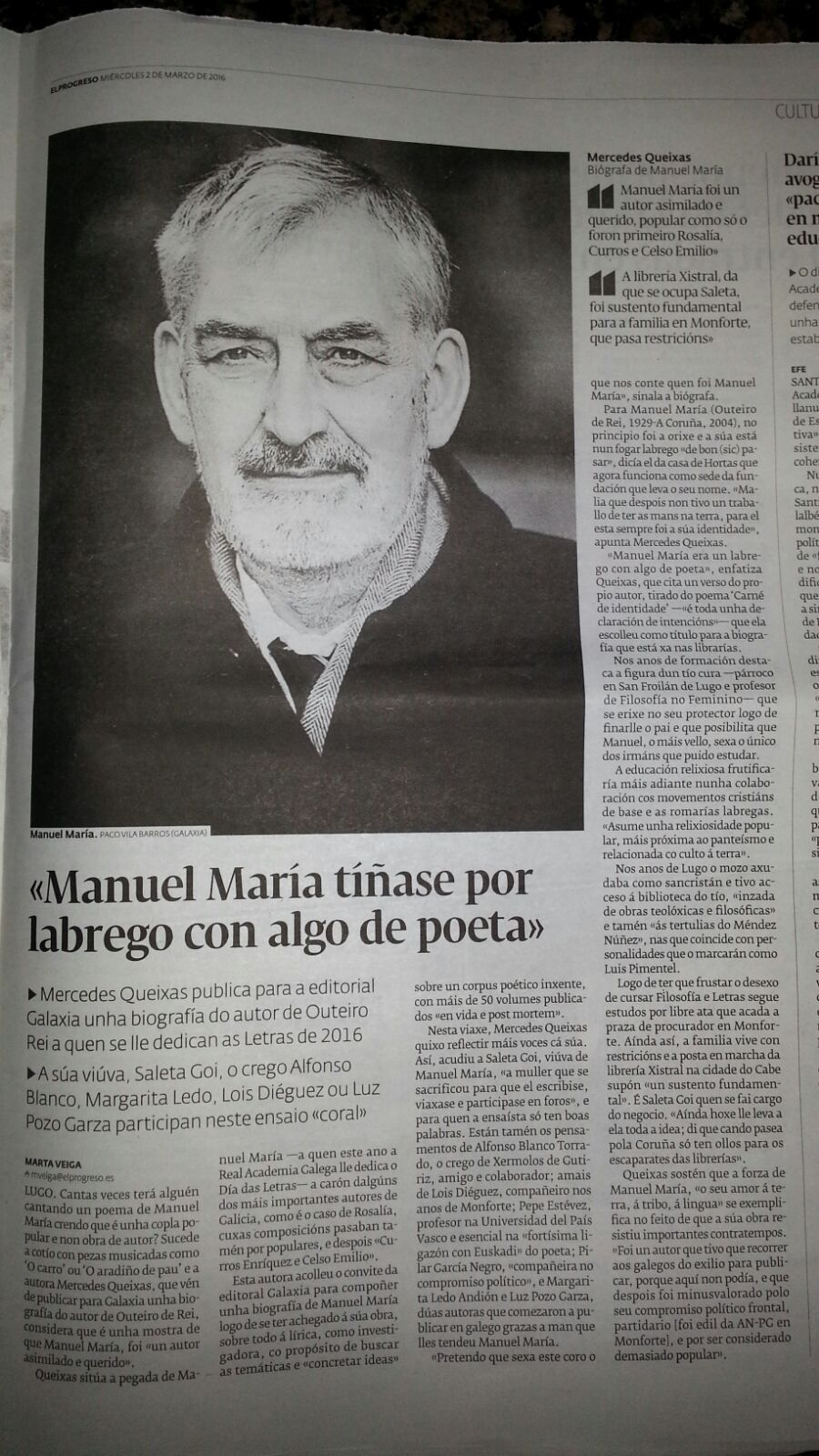 Mercedes Queixas sobre Manuel María