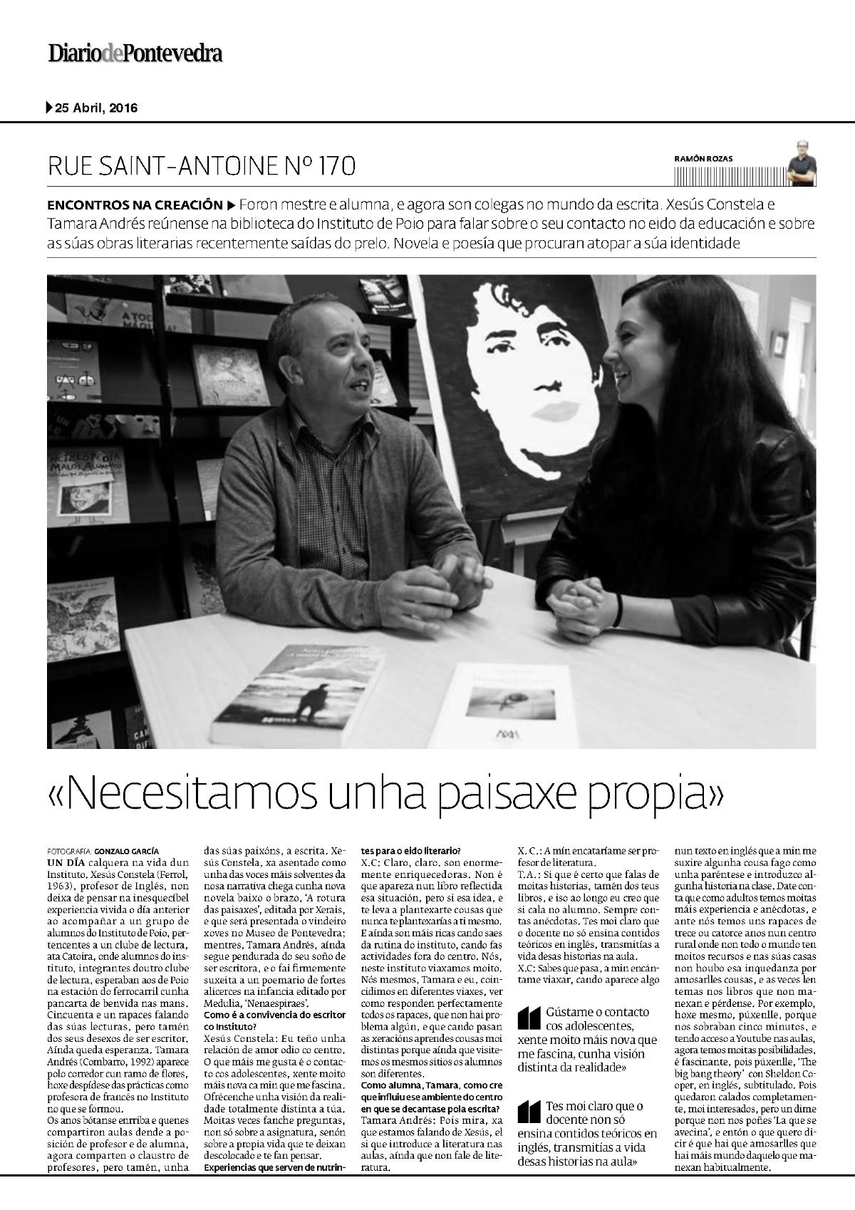 Diario de Pontevedra Xesús Constela e Tamara Andrés 1