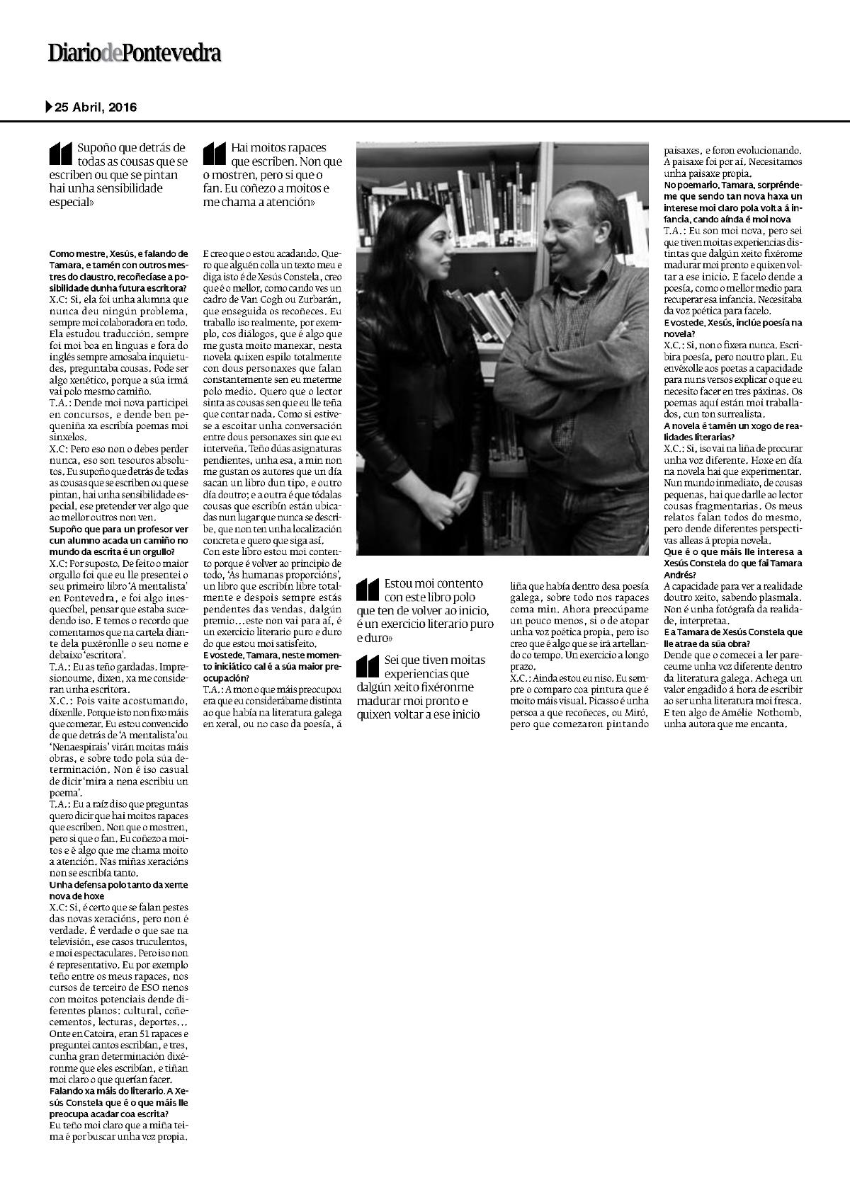 Diario de Pontevedra Xesús Constela e Tamara Andrés 2