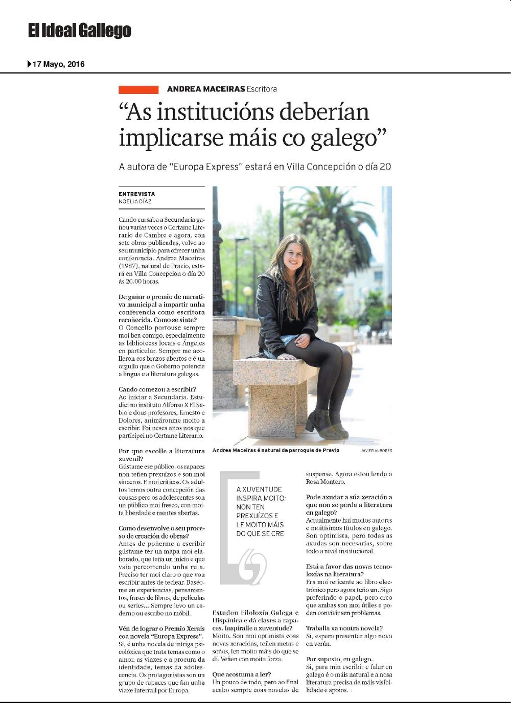 Entrevista a Andrea Maceiras El Ideal Gallego 17-05-2016