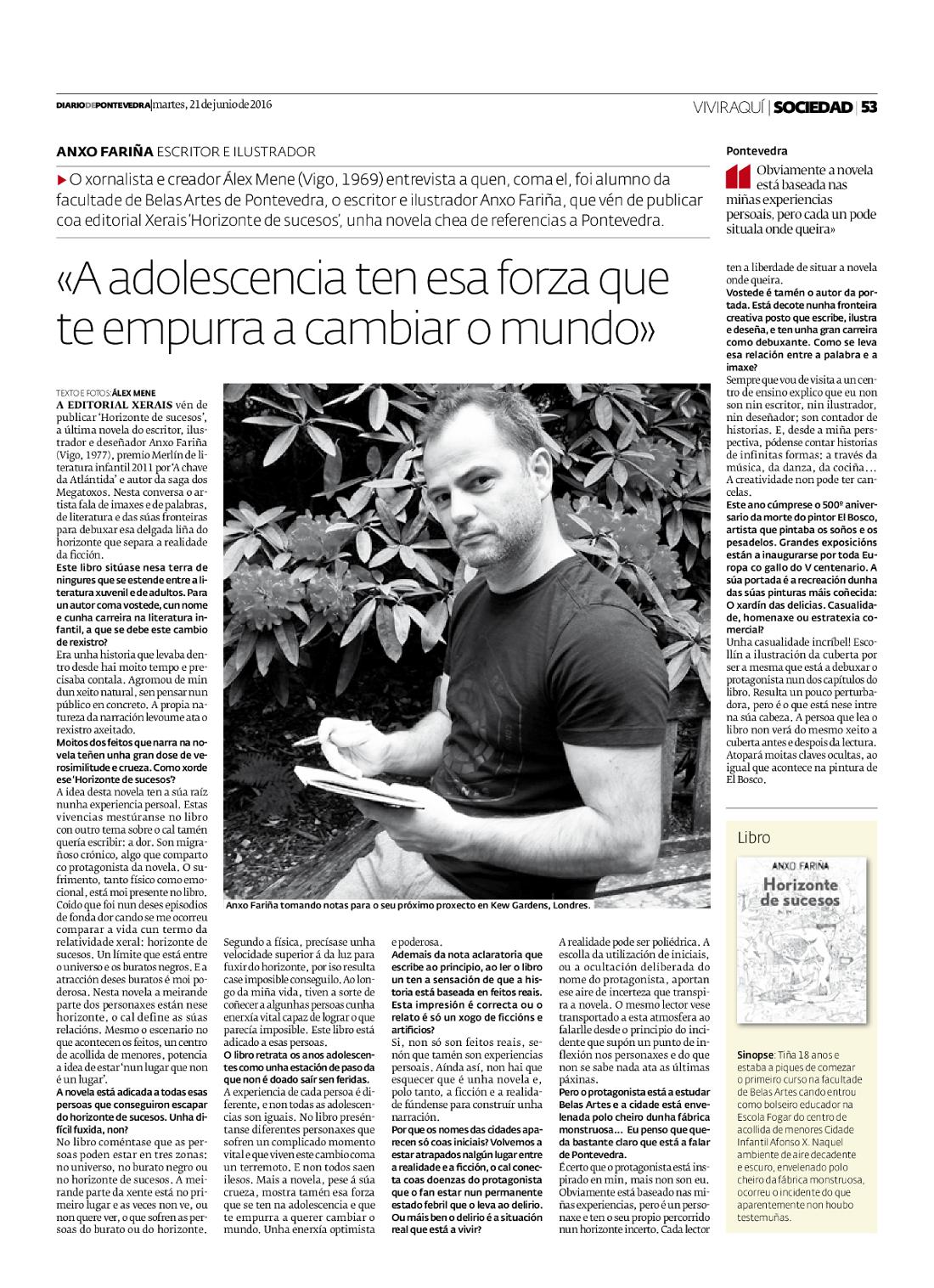 Anxo Fariña Diario de Pontevedra 2016