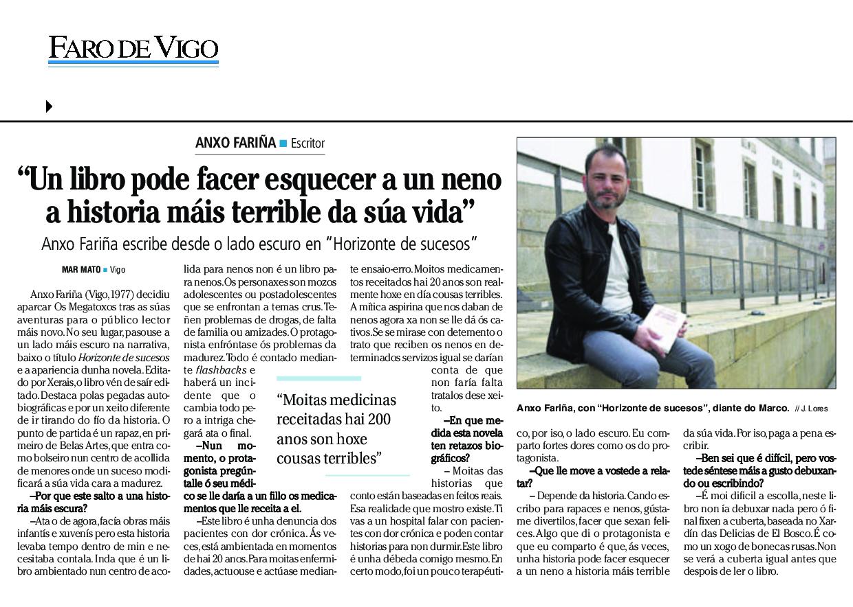 Anxo Fariña Faro de Vigo 2016