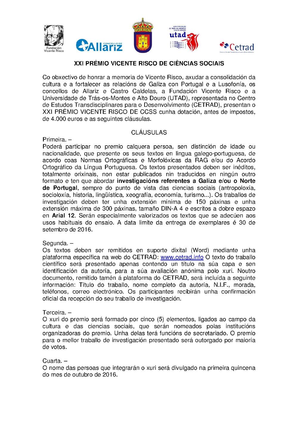 XXI Premio Vicente Risco Ciencias Sociais 2016 2